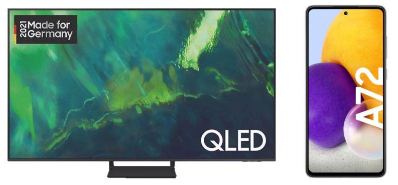Samsung GQ75Q70A   75 Zoll QLED UHD Fernseher + Samsung Galaxy A72 Smartphone für 1.928,90€