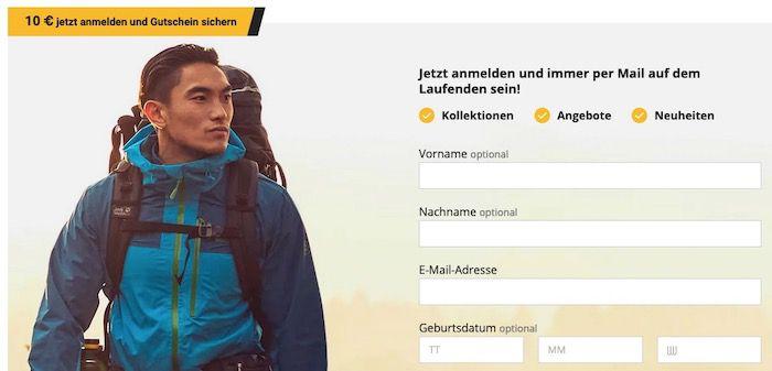 Jack Wolfskin Newsletter abonnieren und 10€ Gutschein (MBW 100€) per E Mail erhalten