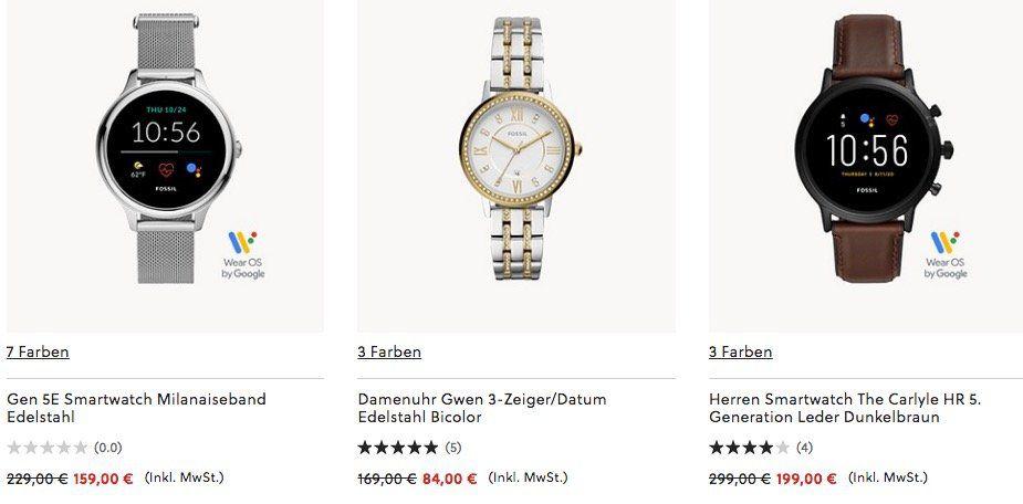 Fossil Sommer Sale bis  50% + 15% Extra   viele günstige (smart) Uhren