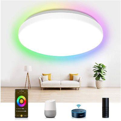 Etersky LED-Deckenleuchte dimmbar 24W und RGBW Farbwechsel mit Alexa & Google Home für 31,49€ (statt 45€)