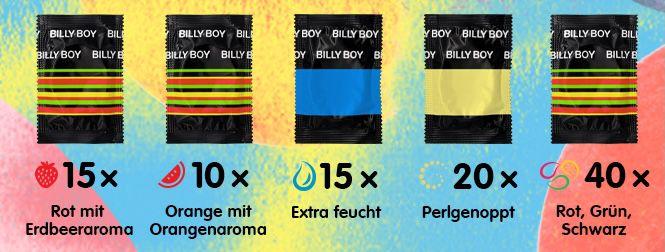 100er Pack Billy Boy Kondome Mix Sortiment Großpackung für 17,99€ (statt 25€)