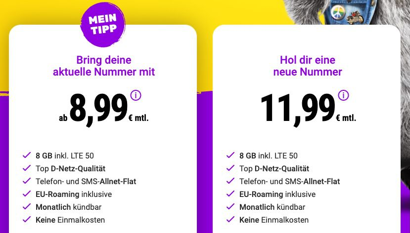 SIMon mobile: Vodafone Allnet Flat mit 8GB LTE (50 Mbit/s) ab 8,99€ mtl. + monatlich kündbar