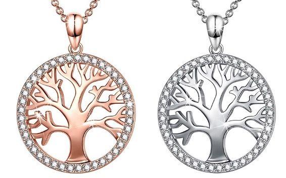 Sellot Damen Halskette mit Lebensbaum Anhänger aus 925er Sterling Silber mit Zirkonia für 14,99€ (statt 29€)