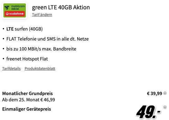 Apple iPhone 12 mit 64GB für 49€ + Vodafone Allnet Flat mit 40GB LTE für 39,99€ mtl.