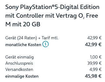 🔥 Sony PS5 Digital Edition + o2 Allnet 20GB LTE für 42,99€ mtl. oder 40GB für 47,99€ + 12 Mon. Netflix für 5€ mtl. mehr