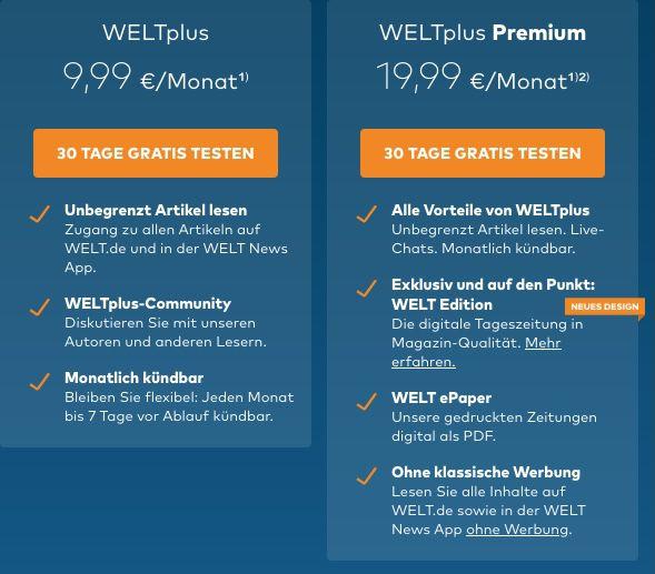 Neukunden: WELTplus und WELTplus Premium 1 Monat kostenlos testen