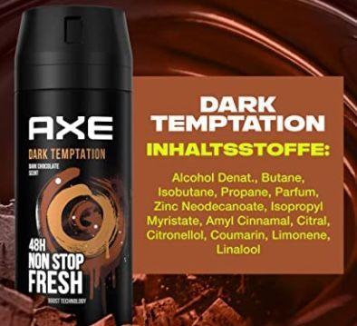 12er Pack Axe Dark Temptation Bodyspray ohne Aluminiumsalze ab 19€(statt 24€)   Sparabo