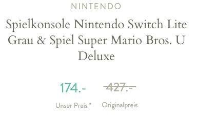 Nintendo Switch Lite in Grau + Spiel Super Mario Bros. U Deluxe ab 150,90€ (statt 235€)