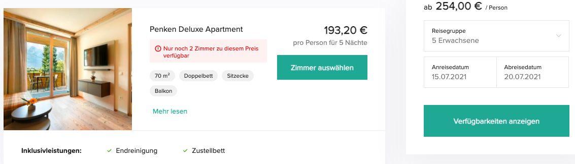 5 ÜN mit 5 Personen im Zillertal in großem Apartment inkl. Handtücher & Endreinigung ab 193€ p.P.