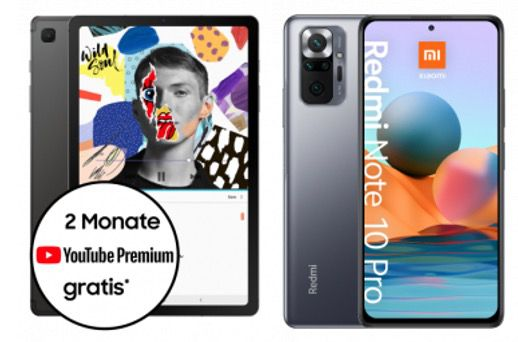 Redmi Note 10 Pro oder Galaxy Tab S6 Lite für 4,95€ mit Telekom Allnet Flat inkl. 26GB für 21,99€ mtl.