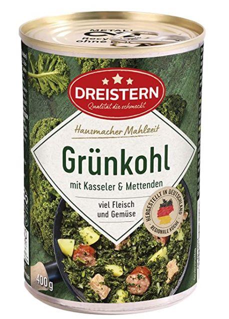 4x 400g Dreistern Grünkohl mit Kasseler und Mettenden für 5€   Prime Sparabo