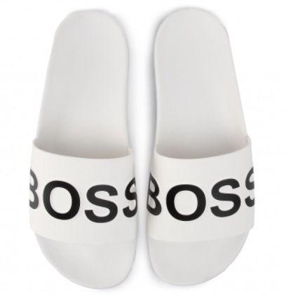BOSS Bay Pantoletten in Weiß für 35€ (statt 52€)