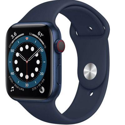 Apple Watch Series 6 (GPS + LTE) in Blau 44mm Aluminium mit Sportarmband für 449€ (statt 499€)