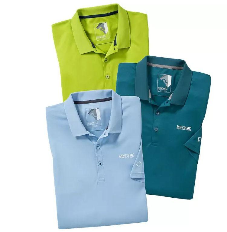 3er Pack Regatta Poloshirt aus Funktions Gewebe für 36,86€ (statt 90€)