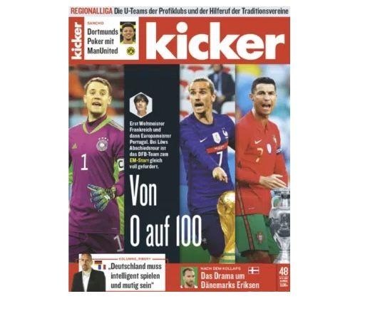 13 Ausgaben (3 Monate) vom Kicker Abo für 74,10€ + 70€ Amazon Gutschein