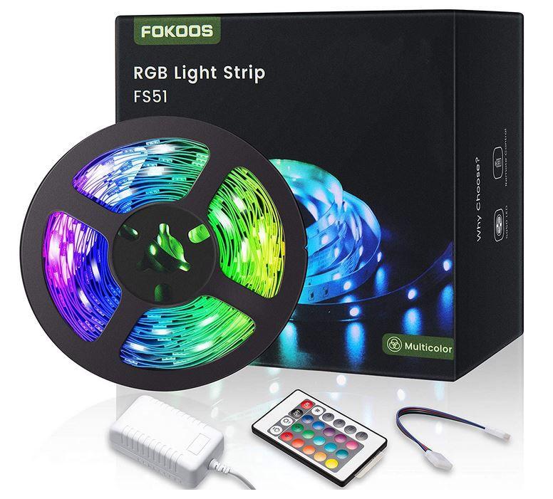 FOKOOS 5m RGB LED Strip  mit 24 Tasten Fernbedienung für 9,99€ (statt 16€)