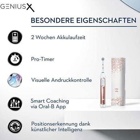 Oral B Genius X 20000N   Elektrische Zahnbürste in Rose Gold für 109€ (statt 134€)