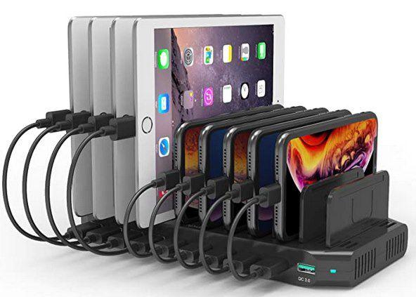 60W USB Ladestation mit 9 USB Ports & 1x QC 3.0 Port für 35,99€ (statt 60€)