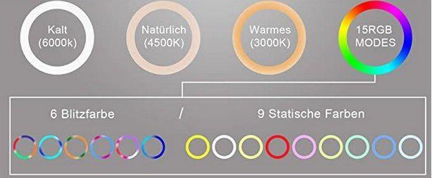 Ownaco RGB LED Ringlicht mit Stativ & 15 Farben für 21,83€ (statt 39€)