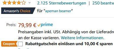 Apeman LC350 Mini LED Beamer mit Tasche für 49,99€ (statt 80€)