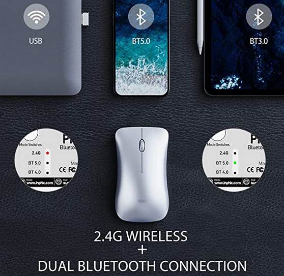 Inphic kabellose Maus (Bluetooth & 2.4G) mit 1.600 DPI für 5,84€ (statt 13€)   Prime