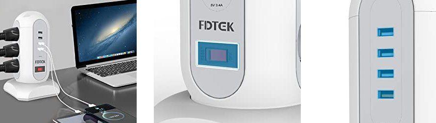 FDTEK 9 Fach Steckdosenleiste (2500W/10A) mit 4 USB Ports & 1,65m Kabellänge für 18,59€ (statt 31€)