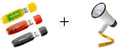 INTENSO RAINBOW 3er Pack USB Stick, 16 GB & INTENSO Fan Megafon für 11€