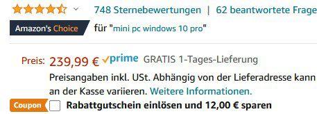 ACEPC GK3V Mini PC mit 8GB DDR4, 128GB ROM, Intel Celeron J4125 & Win 10 Pro für 155,99€ (statt 240€)