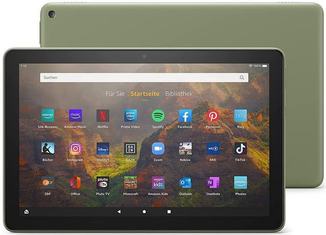 Amazon Fire HD 10 Tablet 10,1 Zoll   32 GB   Full HD in Olivgrün für 79,99€ (statt 134€)