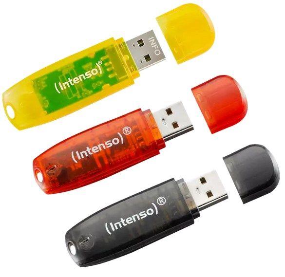 INTENSO RAINBOW 3er Pack USB-Stick, 16 GB & INTENSO Fan Megafon für 11€