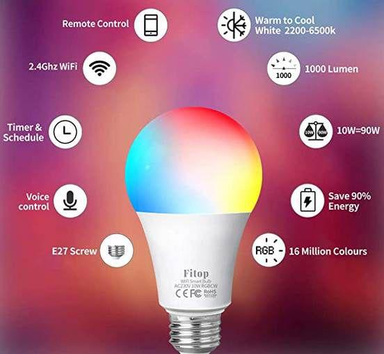 2er Pack: Fitop LED WLAN Glühbirnen mit 10W & App Controll für 8,03€ (statt 18€)   Prime