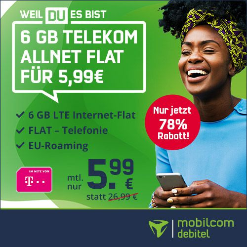 Letzte Chance! 🔥 Telekom Allnet Flat inkl. VoLTE und WLAN Call mit 6GB LTE für 5,99€ mtl.