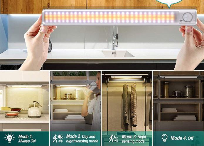 yijiahome CGD 99 Akku Schranklicht mit 120LEDs + Bewegungsmelder für 11,99€ (statt 24€)