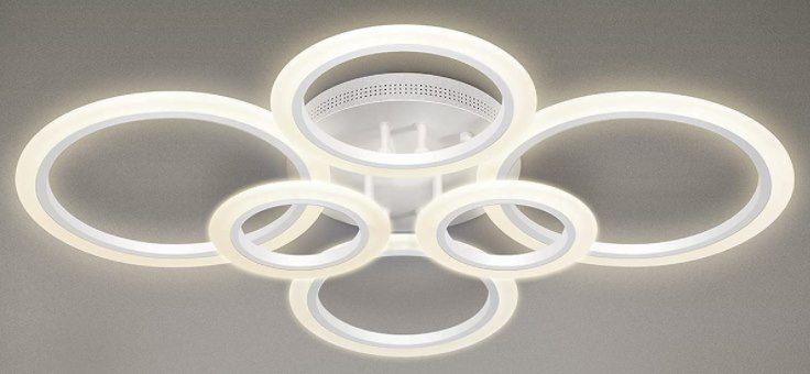 RUYI 6 Ring LED Deckenleuchte (Dimmbar, 72W) für 55€ (statt 125€)
