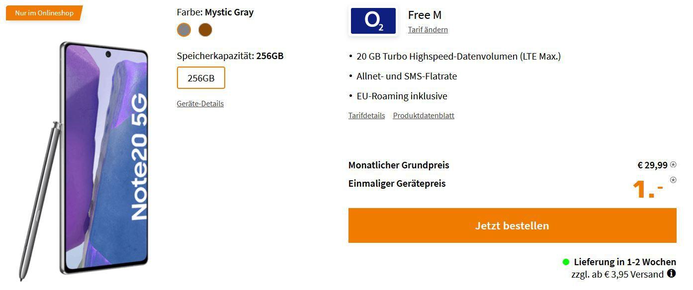 Samsung Galaxy Note20 5G 256GB für 1€ + O2 AllNet Flat mit 20GB max. LTE für 29,99€ mtl.