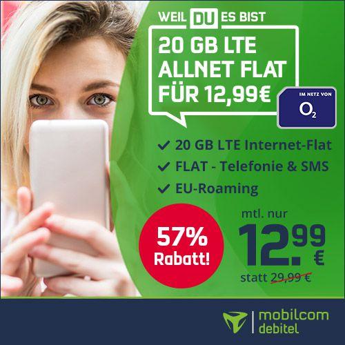 🔥 o2 Allnet Flat mit 20GB LTE inkl. VoLTE und WLAN Call für 12,99€ mtl.