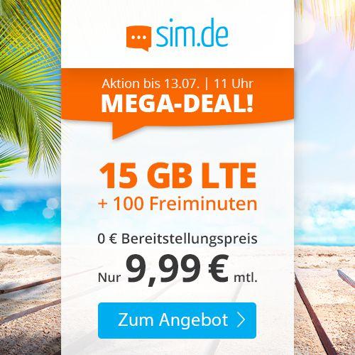 o2 Tarif von Sim.de mit 15GB LTE + 100 Freiminuten für nur 9,99€mtl.