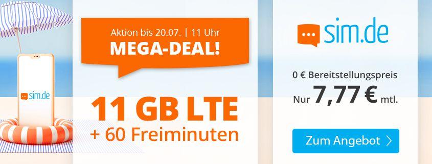 Sim.de: o2 11GB LTE + 60 Freiminuten für 7,77€ mtl.   auch ohne Laufzeit buchbar