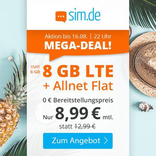 Sim.de: o2 Allnet Flat mit 8GB LTE für 8,99€ mtl.   nur 3 Monate Laufzeit