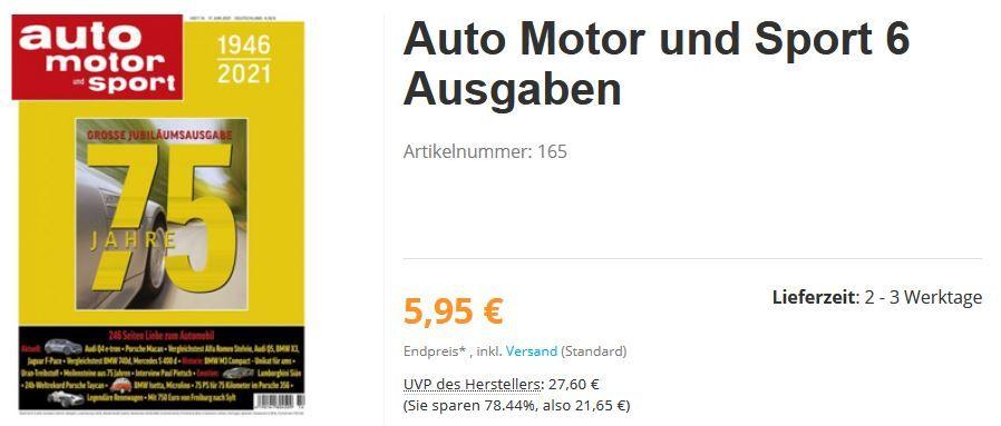 6 Ausgaben auto motor und sport für einmalig 5,95€ (statt 27,60€)   automatisch auslaufend!