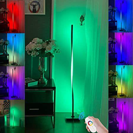 JHJLIB WRLD888 LED geschwungene RGB Stehlampe mit Fernbedienung für 47,99€ (statt 66€)