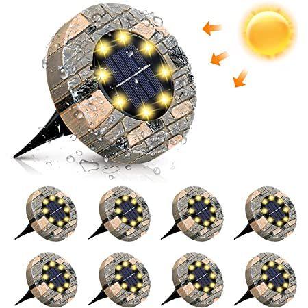 8er Pack: LED Solarbodenleuchten mit 8 LEDs in Warmweiß für 16,81€ (statt 29€)   Prime