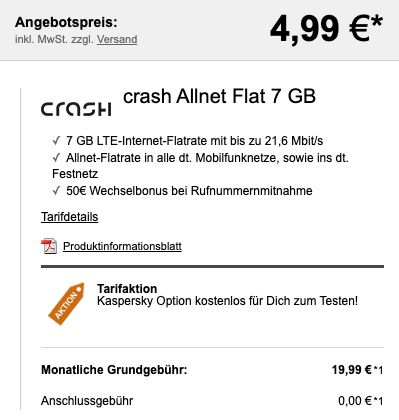 Nintendo Switch (neuestes Modell) für 4,99€ + Vodafone Allnet Flat von Crash mit 7GB LTE für 19,99€ mtl.