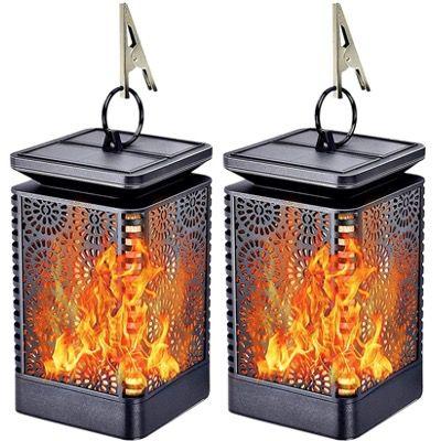 2x FLOWood Solar Gartenlaterne mit Flammeneffekt wetterfest IP65 für 17,49€ (statt 35€)