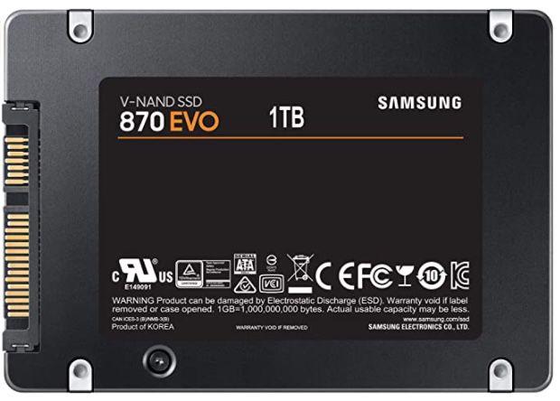 Samsung 870 EVO 2,5 Zoll SSD mit 1TB für 88,46€ (statt 110€)