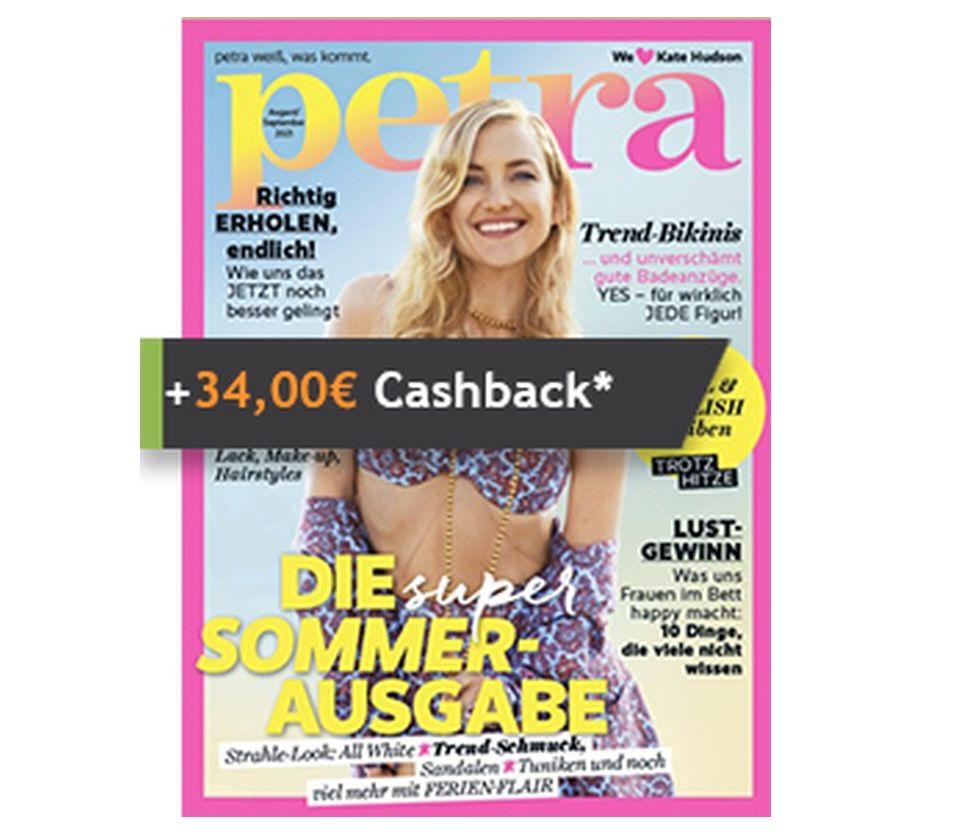 """10 Ausgaben """"Petra"""" im Jahresabo für 34€ + Prämie: 34€ Cashback"""