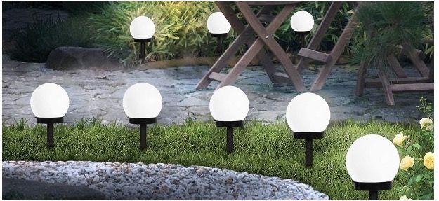 8x SEFON Solar Gartenleuchte Wasserdicht mit Erdspießen in Kaltweiß für 14,99€ (statt 30€)