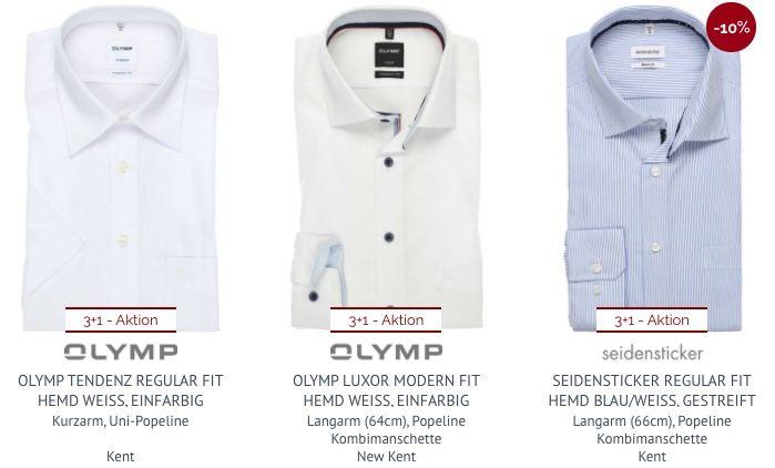 Hemden.de: 4 Hemden zum Preis von 3 kaufen   Olymp, Seidensticker uvm.