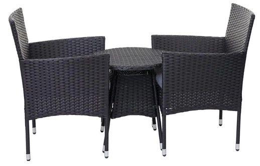 Mendler HWC G27 Poly Rattan Sitzgarnitur Balkonset (2x Sessel + Tisch + Kissen) für 122,99€ (statt 171€)