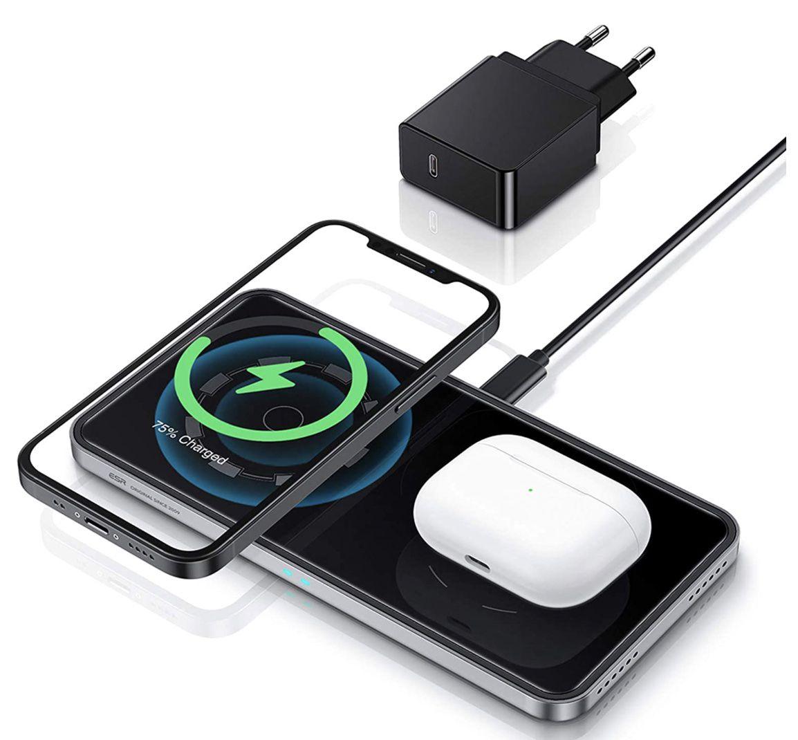 ESR HaloLock 2in1 Qi Ladestation mit MagSafe inkl. 18W Adapter für 14,99€ (statt 30€)